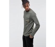 Langes, langärmliges Shirt mit Military-Tasche Grün