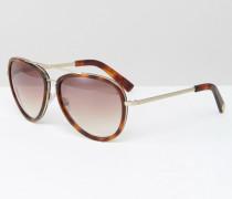 Hochwertige Pilotensonnenbrille aus Metall und Acetat in Schildpattoptik Braun