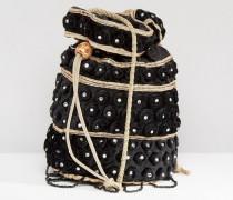 Samt-Beuteltasche mit Perlenverzierung Schwarz