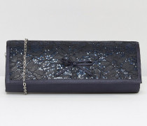 Karolina Bestickte Satin-Clutch Marineblau