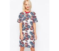 T-Shirt-Kleid mit Blumenmuster Mehrfarbig