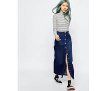 Jeansrock mit Knopfleiste und hohem Bund Blau
