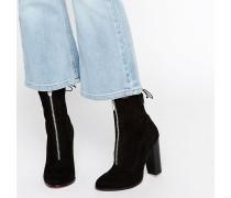 ETTY Knautsch-Stiefel mit Reißverschluss Schwarz