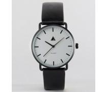 Minimalistische Uhr mit Lederarmband in Schwarz Schwarz