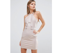 Riemenverziertes Minikleid mit Metallelementen Rosa