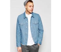 Schmal geschnittene Jeansjacke in hellblauer Waschung Blau