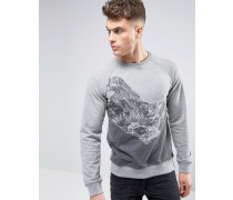 Sweatshirt mit Bergmotiv Grau