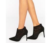 Spitze Stiefel mit hohem Absatz und Netzstoffdetail Schwarz