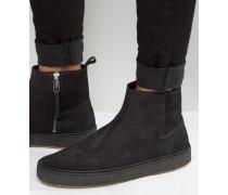 Deller Chelsea-Stiefel mit Kreppsohle Schwarz