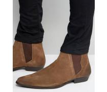 Spitze Chelsea-Stiefel aus braunem Wildleder Braun