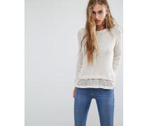 Pullover aus Rippenstrick mit Spitzensaum Weiß