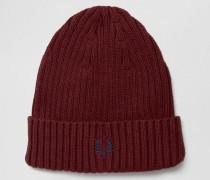 Gerippte Mütze mit Logo Rot