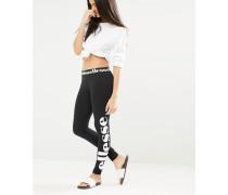 Leggings mit seitlichem Logoaufdruck Schwarz