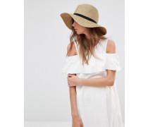 Fedora-Hut mit breiter Krempe Beige
