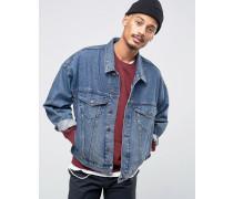 Oversize-Jeansjacke in verwaschenem Blau Blau