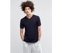 Strick-T-Shirt mit Durchbruchdesign Marineblau