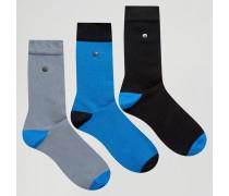 Socken aus Modal-Baumwolle im 3er-Pack mit Kontrast an Ferse und Bündchen Blau