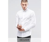 Enges Hemd mit verdecktem Knopfverschluss am Kragen und Stretch-Anteil Weiß