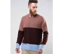 Oversize-Pullover aus weichem Garn mit dicken Nähten Rosa