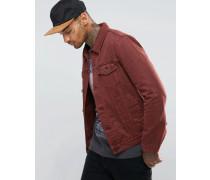 Schmal geschnittene Jeansjacke in Burgunderrot Rot