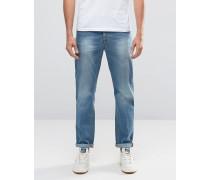 Schmale Jeans in verwaschenem Mittelblau Blau