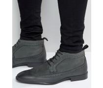 Chukka-Stiefel aus grauem Leder im Budapester-Stil Grau