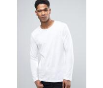 Langärmeliges Shirt mit Noppenstruktur Weiß