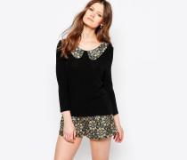 Pullover mit Jacquard-Kragen Schwarz