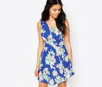 Geblümtes Kleid mit Reißverschluss vorne Blau
