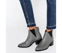 Drina Graue Chelsea-Stiefel aus Leder Grau