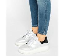 Weiße irisierende Sneaker mit Plateausohle Weiß