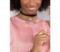 Mehrreihige Halskette mit Halsband- und Schleifendesign Schwarz