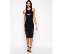 Figurbetontes Kleid mit Netz und Pailletten Blau
