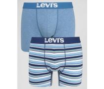 Levi's 2er-Set gestreifte Boxerslips in Blau Blau