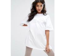 Oversize-T-Shirt mit farblich passendem Logo Weiß