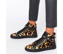 Hochgeschnittene Sneaker mit Leopardenmuster Mehrfarbig
