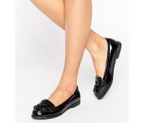 Loafer in Lacklederoptik mit Fransen Cremeweiß