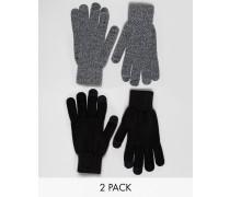 Touchscreen-Handschuhe im 2er Pack in Schwarz und Grau Schwarz