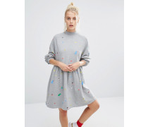 Oversized-Sweatkleid mit Zufallsprint Grau