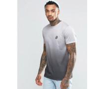 Batik-T-Shirt mit kleinem Logo Grau