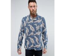 Brooklyn Supply Co Cactus Hemd mit Reverskragen Marineblau