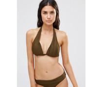Neckholder-Bikinioberteil mit Goldbesatz Grau