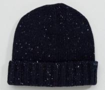 Marineblaue Mütze aus Lammwolle Marineblau