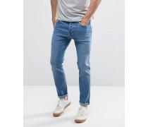 Schmal geschnittene Stretch-Jeans in mittlerem Altblau verwaschen Blau
