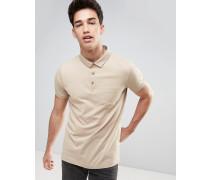 Einfarbiges Jersey-Poloshirt mit Kontrastleiste Cremeweiß