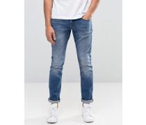 Skinny-Jeans in Vintage-Waschung Blau