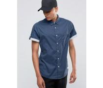 Kurzärmliges Hemd mit farblich abgesetztem Umsatz Marineblau