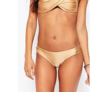 Bikinihose mit gerafften Seiten Gold