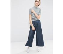 Texturierte Jeans mit weitem Beinschnitt Blau