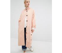 Mantel mit hohem Kragen und Knopf Rosa